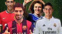 Luis Suárez, James Rodríguez, Ángel Di María y David Luiz.