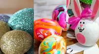 Huevos de Pascua escarchados, pintados hasta incluso en forma de coneja.