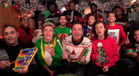 One Direction, Jimmy Fallon y el grupo The Roots.