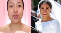 Utilizó diversos productos maquillajes que la dejaron igual a Meghan.