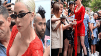 Lady Gaga presumió cuerpo de infarto en ceñido vestido rojo.