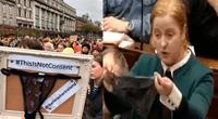 Cientos de personas salieron a protestar en Irlanda por abogado que justificó violación de menor solo porque llevaba tanga