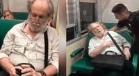 Anciano intentó usar peculiar estrategia para que no lo saquen de tren