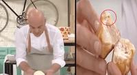 """Chef presume su empanada """"perfecta"""" en vivo, pero cucaracha lo arruina."""