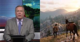 El programa Out & About mostró una captura de Red Dead Redemption 2 en televisión como si fuera una fotografía real./Fuente: NewsChannel 21/Rockstar Games.