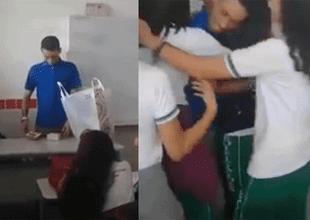 Al final de la sorpresa abrazaron a su maestro.