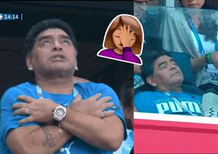 Maradona estuvo en el estadio desde muy temprano, igual que en los otros encuentros.