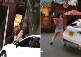 Novia celosa destruye el auto de su novio.