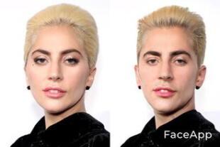 Lady Gaga cambio de género en FaceApp.
