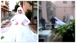 Explosión en Beirut: Una novia se encontraba en una sesión de fotos, pero empieza a correr por su vida (VIDEO)