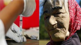 Las mujeres se colaron en el Centro de Convenciones del Condado de Orange para recibir la segunda dosis de la vacuna contra la COVID-19 aprovechando sus disfraces de anciana./Fuente: Composición.
