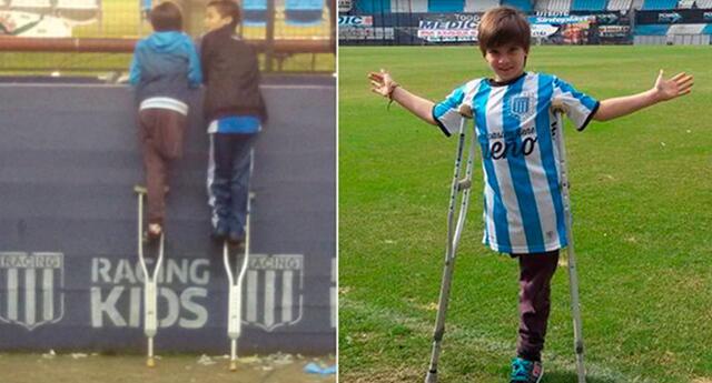 El niño que prestó muleta su amigo para ver el fútbol recibió una gran noticia