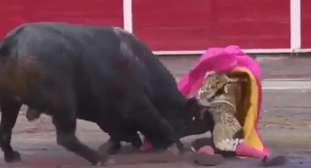 Momento preciso en que un toro embiste a torero. Las imágenes son impactantes.