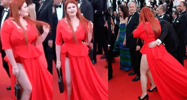 La modelo se quedó en ropa interior en plena pasarela de la alfombra roja de Cannes