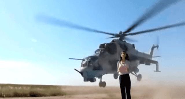 Helicóptero militar estuvo a milímetros de decapitar a una periodista que hacía un enlace en vivo desde una pista de aterrizaje
