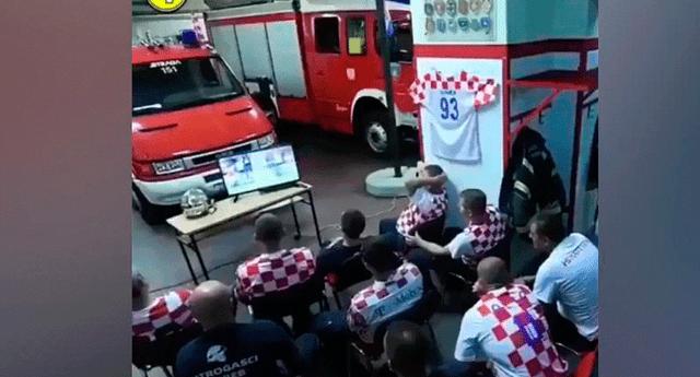Bomberos croatas veían por televisión el emocionante partido entre Croacia y Rusia