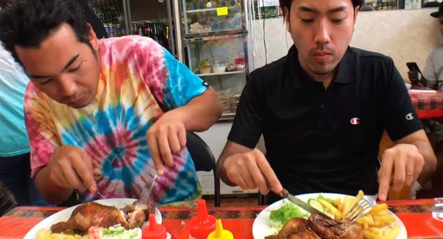 Youtuber peruano registró las reacciones de dos japoneses tras comer pollo a la brasa por primera vez