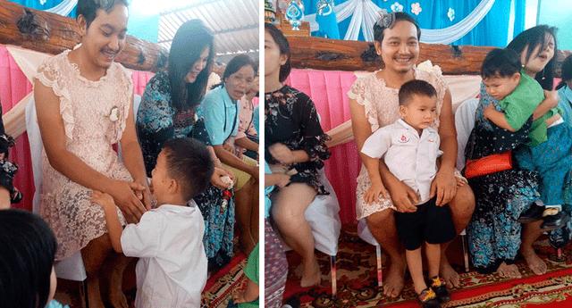 """Chatchai """"Sam"""" Panuthai contó que su esposa lo abandonó hace tres años y desde entonces se ha hecho cargo de sus dos hijos."""