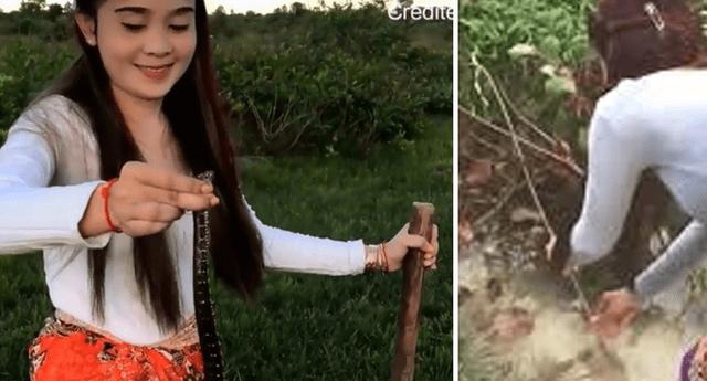 Asiática presume su increíble destreza con la pesca artesanal.
