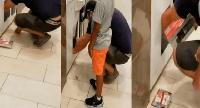 Sujeto metió a su hija a una máquina de regalos para robar costosos objetos