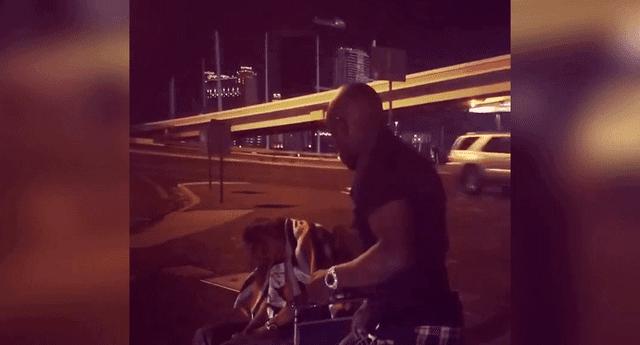 En el video compartido en su cuenta de instagram, Mayweather dona mil dólares a un indigente.