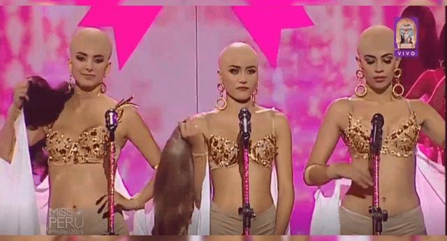 """Las candidatas se sacaron la peluca y mostraron sus cabezas """"rapadas""""."""