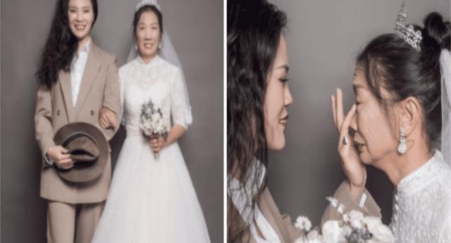 Hija se casa con su madre viuda y conmueve a todos.