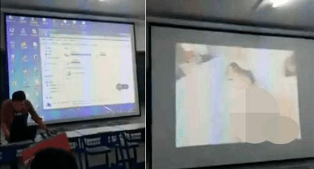 Profesor coloca película para adultos en salón de clase.