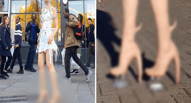 """Modelo presumió """"botas alienígenas"""" en la calle y su aspecto mutante asombró a transeúntes."""