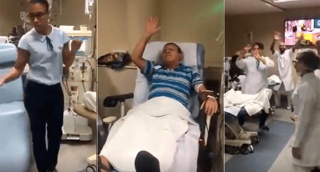 Enfermeras invitaron a sus pacientes a bailar.