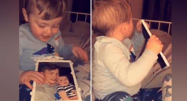 Bebé mira la foto de su padre muerto y su reacción sobrenatural puso en jaque a miles .
