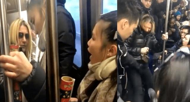 Pasajeros de metro intentaron parar la agresiva actuación de la mujer contra menor asiática