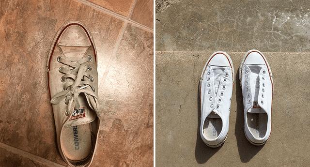 Deja tus zapatillas blancas como nuevas.