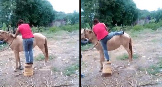"""""""Novata"""" intenta montar un caballo, pero sus nervios le pasan factura y ocurre lo peor."""