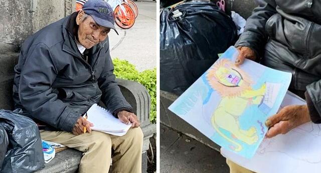 Abuelito realiza dibujos para sobrevivir en plena pandemia