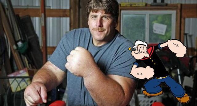 ¿Popeye, eres tú? Hombre con enormes músculos se vuelve viral  por su enorme parecido al personaje