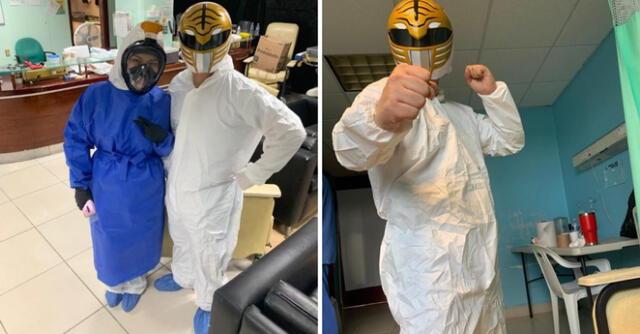 Enfermero se disfraza de Power Ranger para alegrar a pacientes con COVID-19