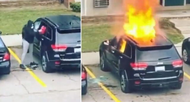 Mujer quema el carro de su expareja en venganza, pero todo le sale mal (VIDEO)