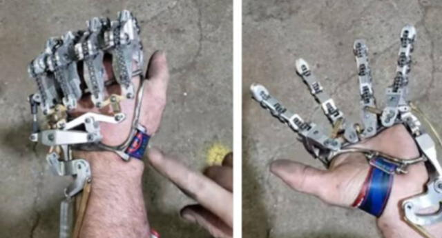 ¡Como un cyborg! Hombre pierde varios dedos de su mano y se fabrica una increíble prótesis mecánica  (VIDEO)
