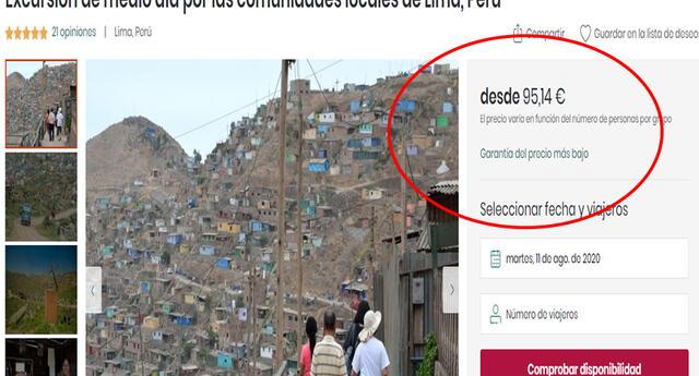 """Polémica por web turística que ofrece visita a """"comunidades locales"""" en Villa María del Triunfo por 97 euros"""