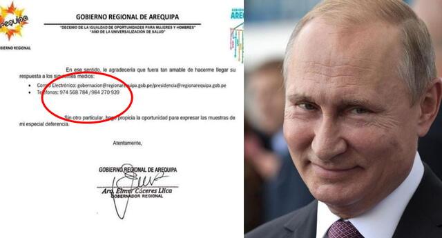 Usuarios hacen viral carta de Gobernador de Arequipa donde le deja su número de celular a Putin