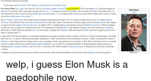 """¿Estará aburrido? Elon Musk pide que lo """"destrocen""""en Wikipedia y usuarios le hacen caso (FOTOS)"""