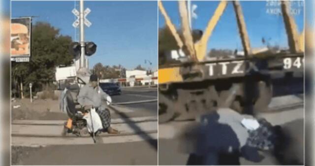 ¡Terrorífico! Abuelito es salvado segundos antes de ser arrollado por un tren que iba a toda velocidad [VIDEO]