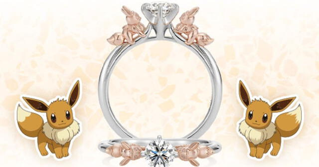 Pokémon lanza anillos matrimoniales estilo Evee para conquista a tu pareja