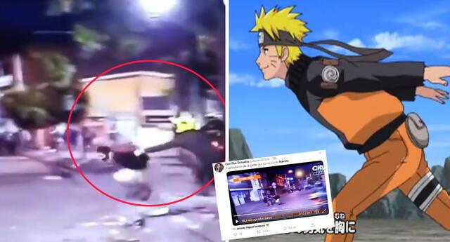Hombre escapa de policías corriendo como Naruto y se vuelve viral