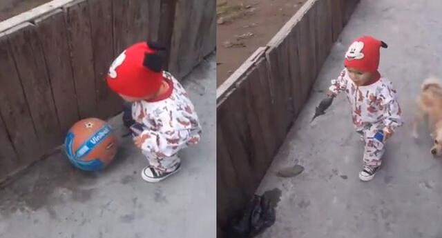 Video de un niño jugando con una pelota que desaparece se vuelve viral