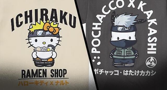 Naruto y Hello Kitty lanzan una colección exclusiva de camisetas