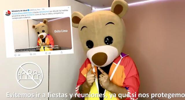 Osito Lima reaparece en una campaña anti-covid del Ministerio de Salud y se viraliza