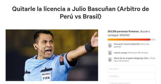 Peruanos juntan más de 200 mil firmas para quitarle la licencia al árbitro Julio Bascuñan