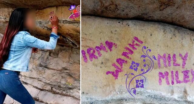 Mujer atenta contra pinturas rupestres de Pinta y Punta.
